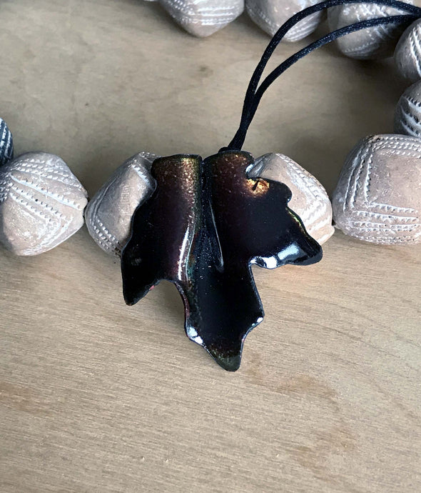 Deep Dark Brown Maple Leaf Pendant