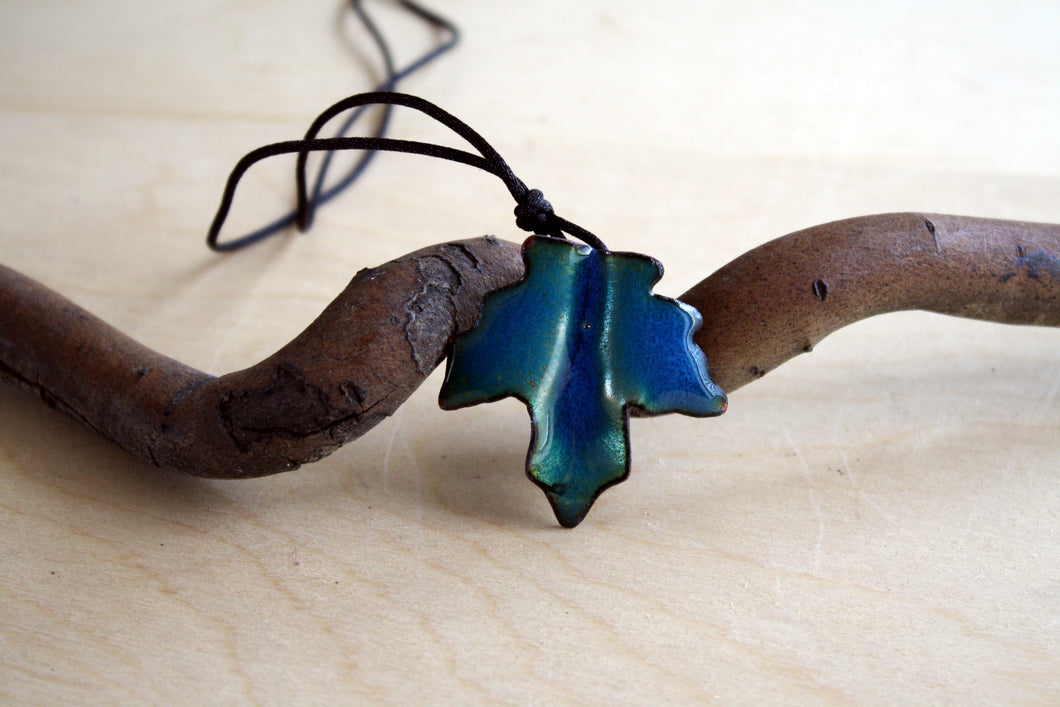Bright Turquoise Maple Leaf Pendant
