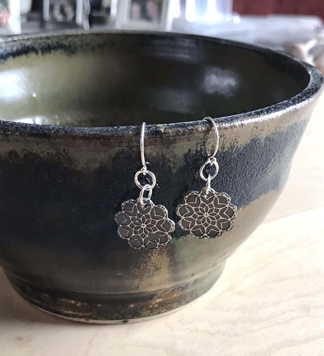 Petite Floral Sterling Silver Mandala Earrings