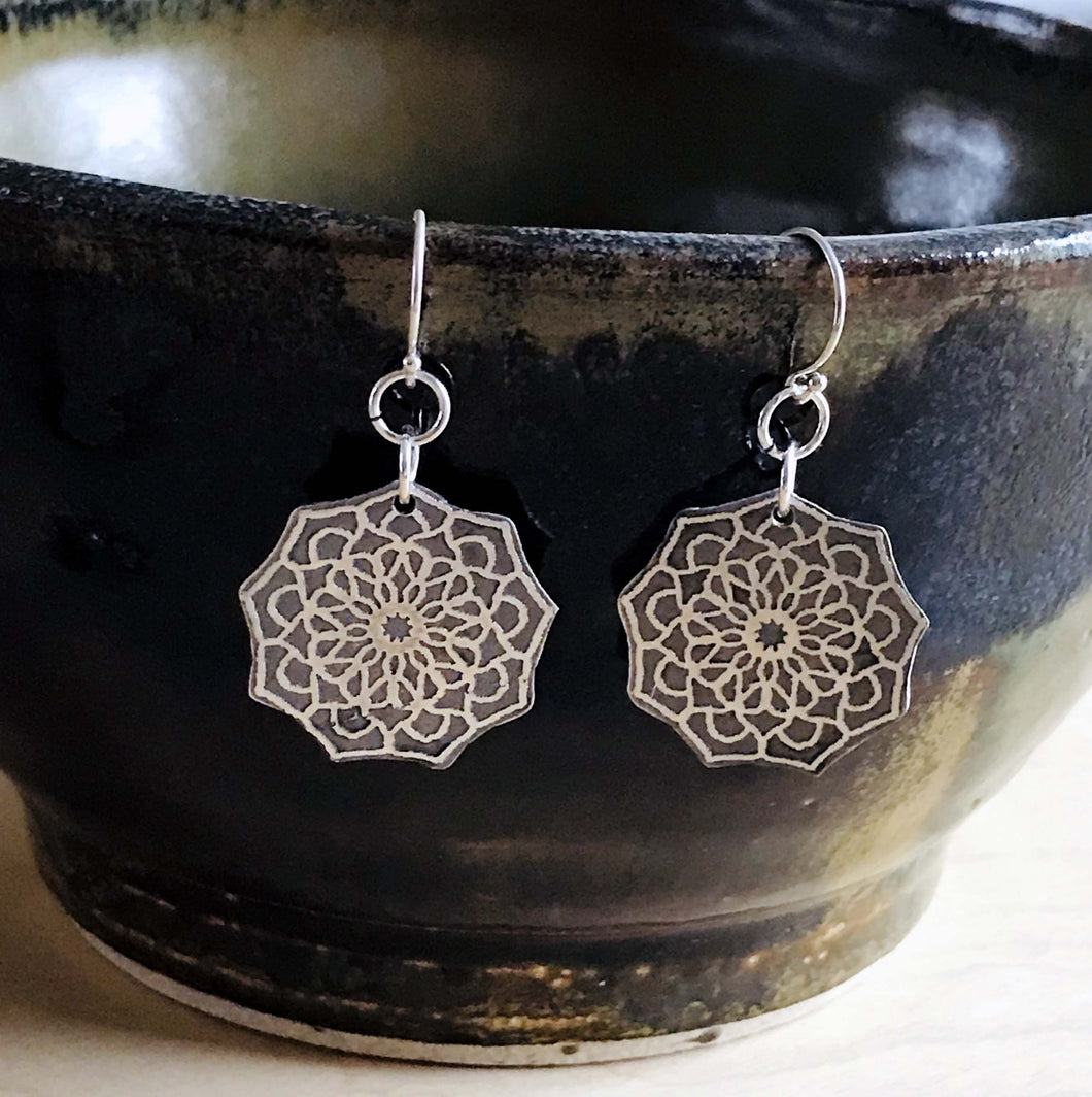 Medium Geometric Sterling Silver Mandala Earrings