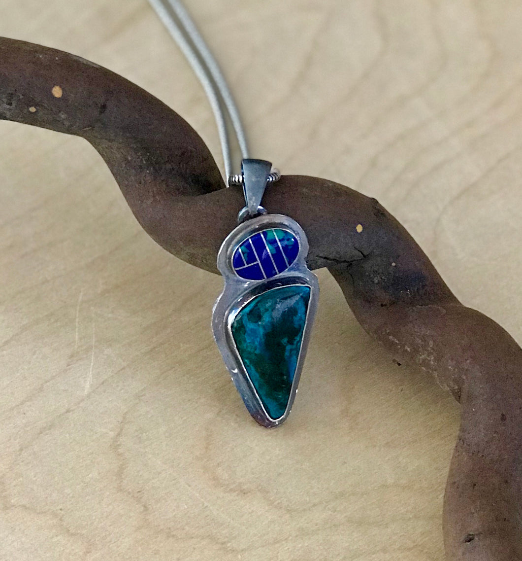 Parrot Wing Chrysocolla and Azurite Pendant