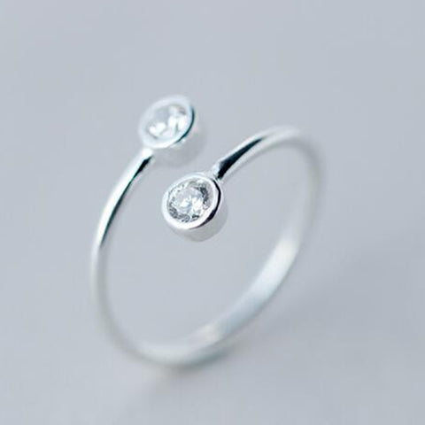 Graceful Silver and Crystal Open Ring