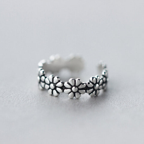 Open Silver Flower Ring