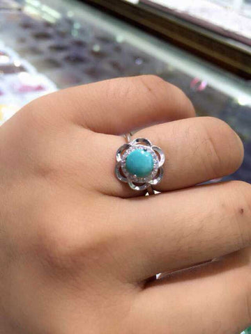 Floral Silver and Turquoise Ring - Yellow Rise