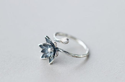 Open Silver Lotus Ring