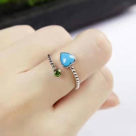 Elegant and Romantic Heart Turquoise Ring - Yellow Rise