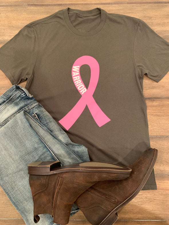 Military Green Breast Cancer Warrior Unisex tee