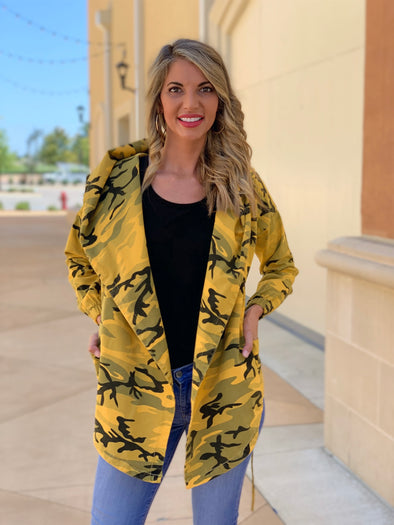 Camouflage hooded Wrap Jacket (Mustard)