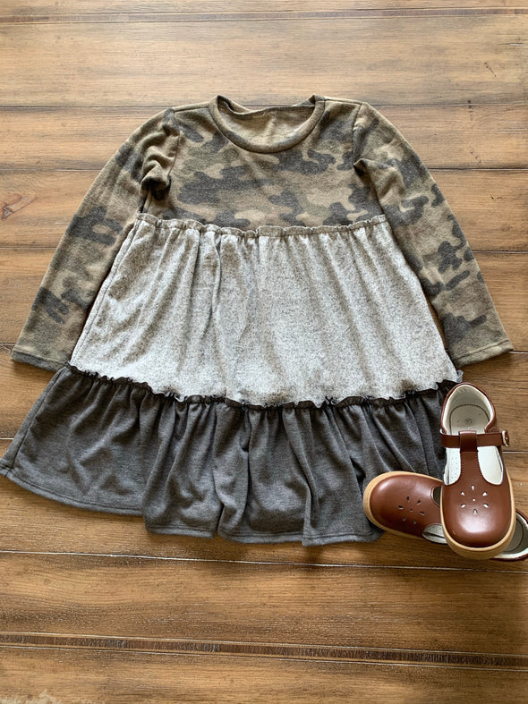 Girls Camouflage Color Block Dress