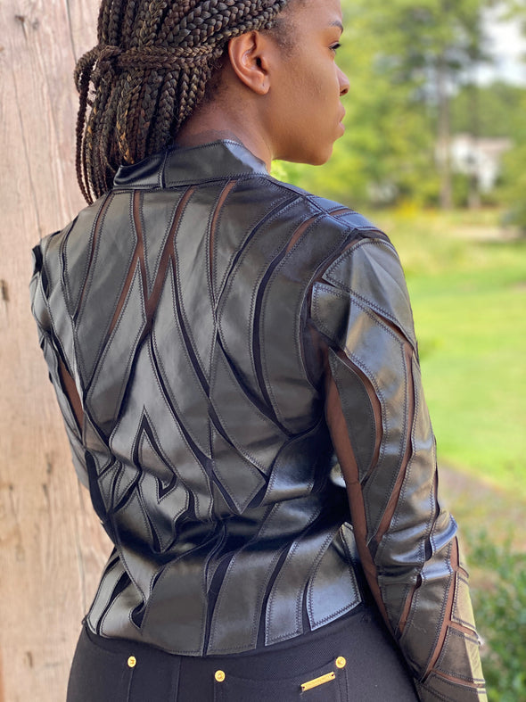 Faux leather blazer with mesh detail