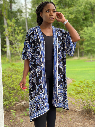 Black and Blue Kimono duster