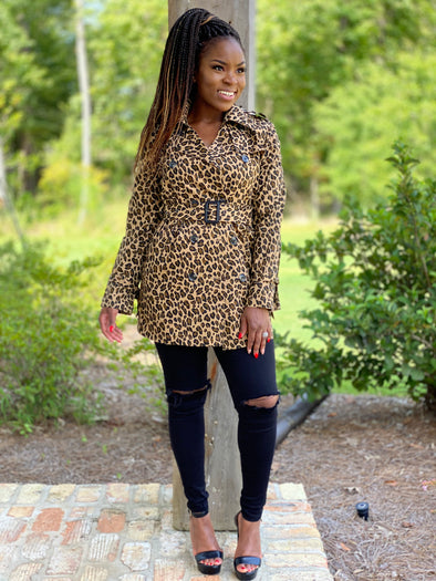 Leopard print trench coat with waist belt