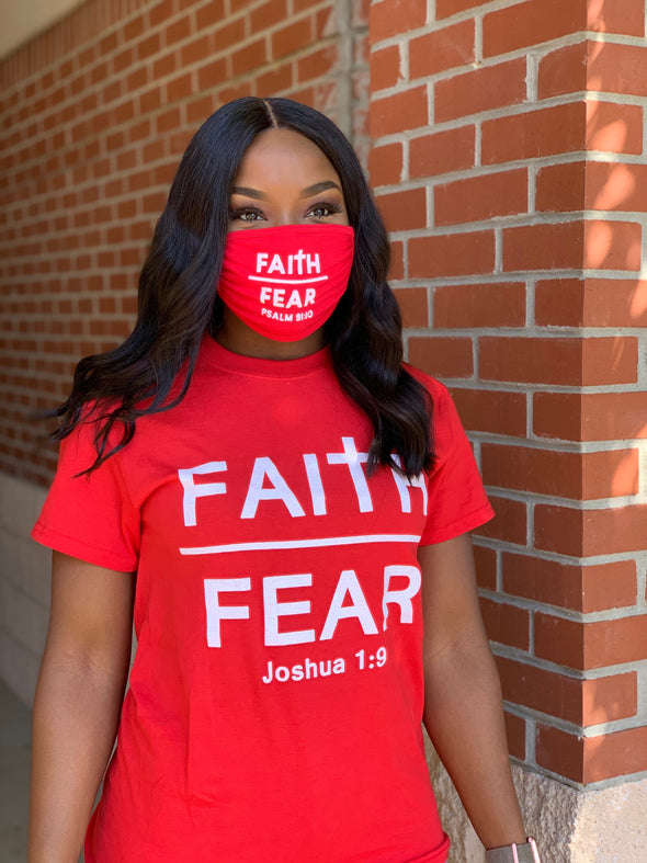 Modal Antibacterial face mask  Faith over Fear  RED