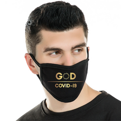 Modal Antibacterial face mask —GOD/COVID-19 in metallic gold foil