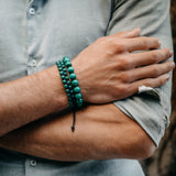 Men's MALACHITE Double Bead Bracelet - Green Gemstones - GT collection