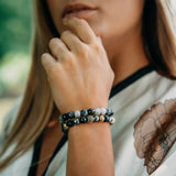 Women's Beaded Bracelet - Agate, Hematite Gemstones - GT collection