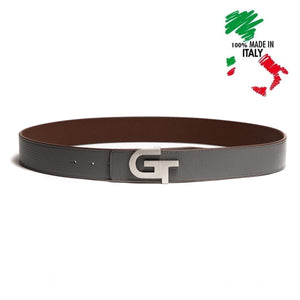 Men's Reversible Leather Belt - Double Color (Grey/Brown) - GT collection