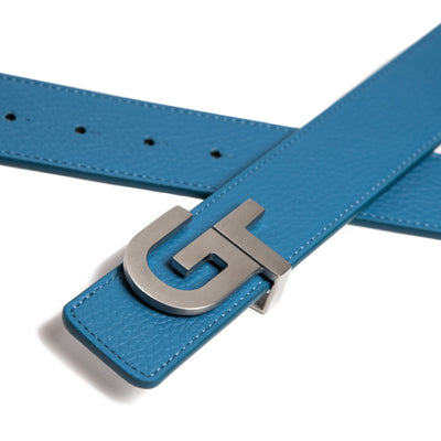 Apparel - Unisex Leather Belt Reversible  | Double Color (White/Blue)