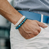 Men's BLUE APATITE Beaded Bracelet - Turquoise Gemstones - GT collection