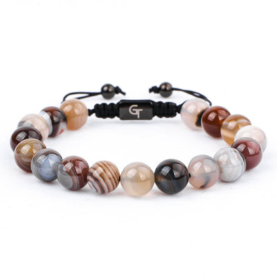 Bracelet - BOTSWANA AGATE Beaded Bracelet | Multicolored Gemstones On Black Cord | 10mm Beads