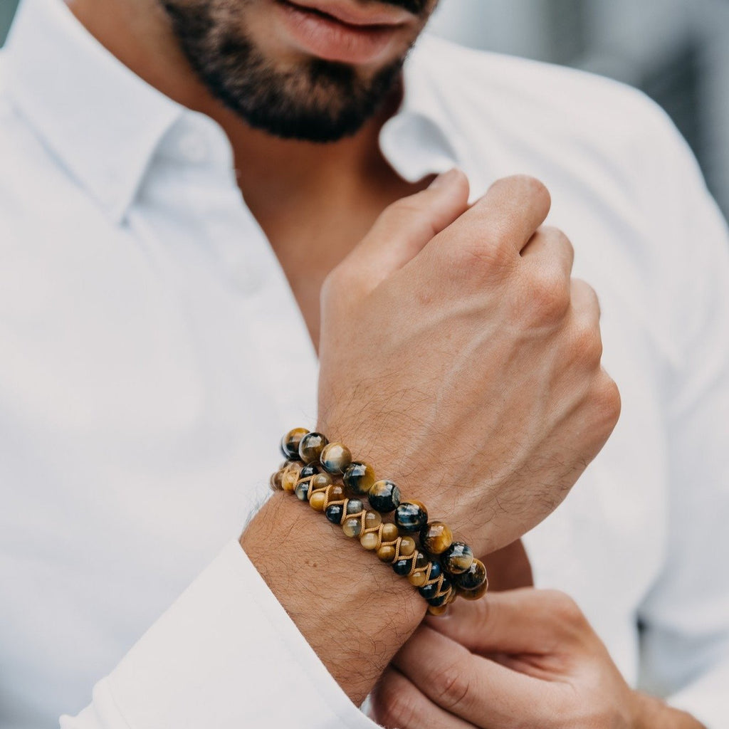 Men's HAWK'S EYE Beaded Bracelet - Multicolored Gemstones - GT collection