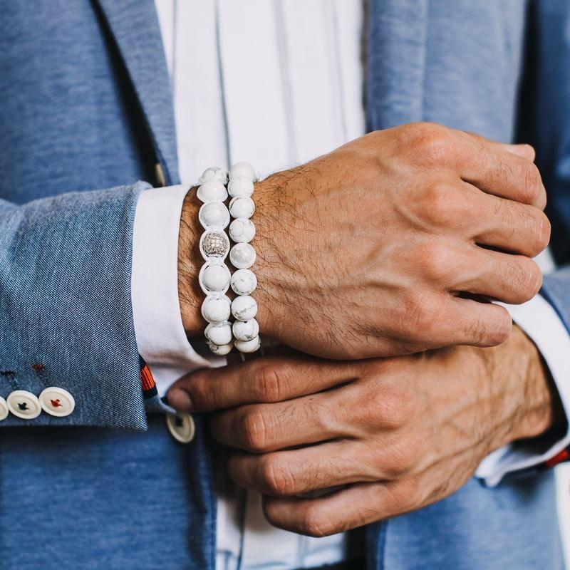 Men's HOWLITE Beaded Bracelet - White Gemstones - GT collection