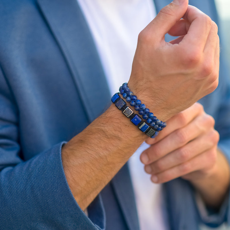 Men's LAPIS LAZULI Double Bead Bracelet | Blue Gemstones