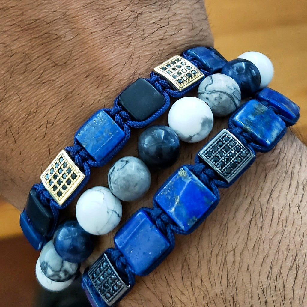 LAPIS LAZULI Flatbead Bracelet - Blue Gemstones & Black CZ Bead - GT collection