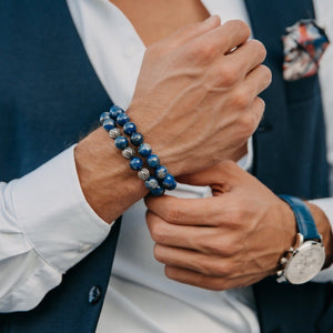 Men's LAPIS LAZULI Beaded Bracelet - Blue Gemstones - GT collection