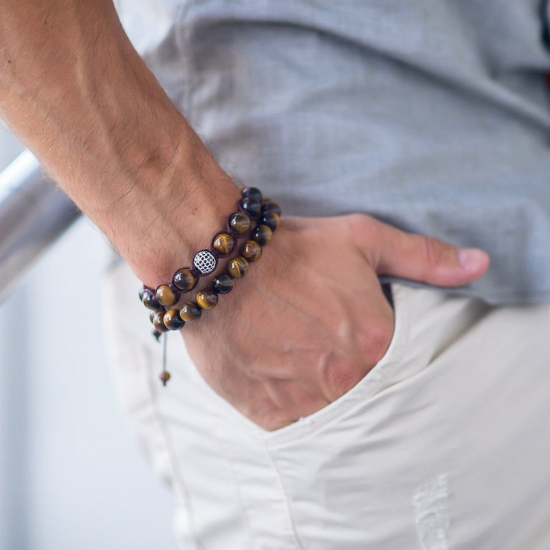 Men's TIGER EYE Beaded Bracelet | Brown Gemstones
