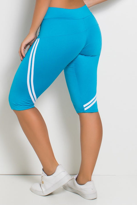 Light Blue 2 Stripes Capri