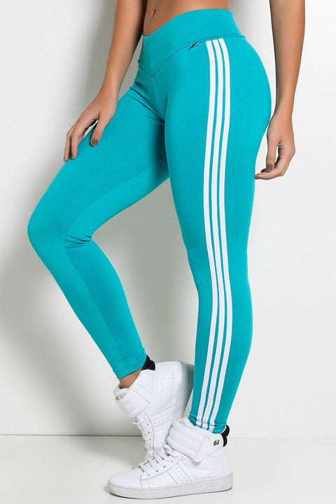 Leggings with stripes (Green / White)