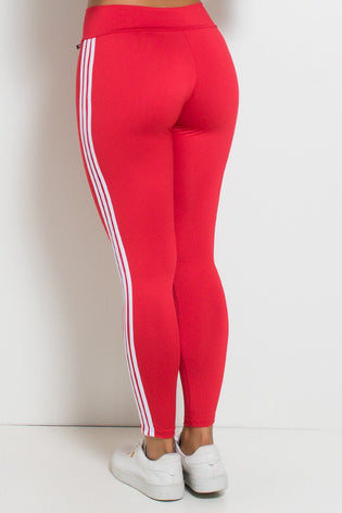 Leggings with Stripes (Red / White)