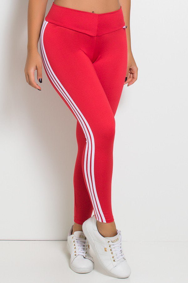 Leggings with Stripes (Red / White) (2)