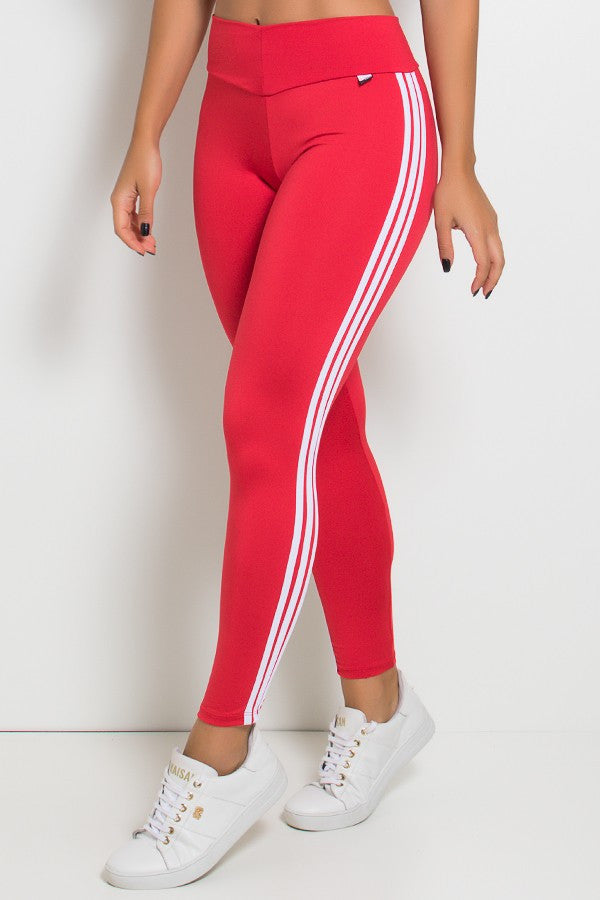 Leggings with Stripes (Red / White) (3)