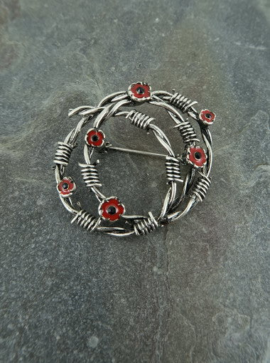 Barbed Wire Poppy Brooch