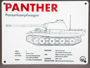 Panther Technical Data Metal Sign - The Tank Museum