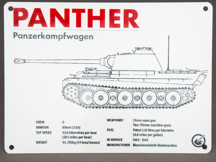 Panther Technical Data Metal Sign