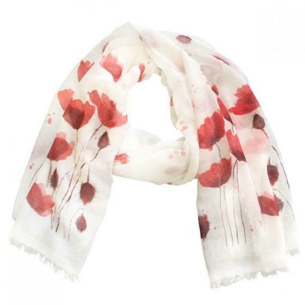 White and Red Poppy Scarf