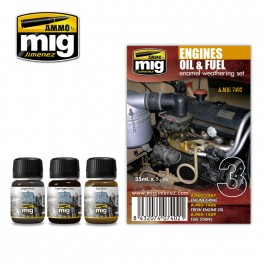 Ammo by Mig Engines Oil & Fuels Enamel Weathering Set - The Tank Museum