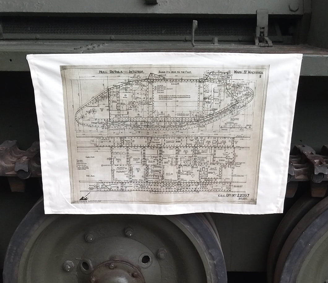 Mark IV Blueprint Tea Towel - The Tank Museum