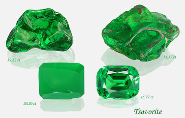 From Rough to Cut: Tsavorite 55 Carats