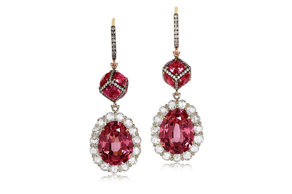 PAIR OF PINK SPINEL AND DIAMOND PENDENT EARRINGS