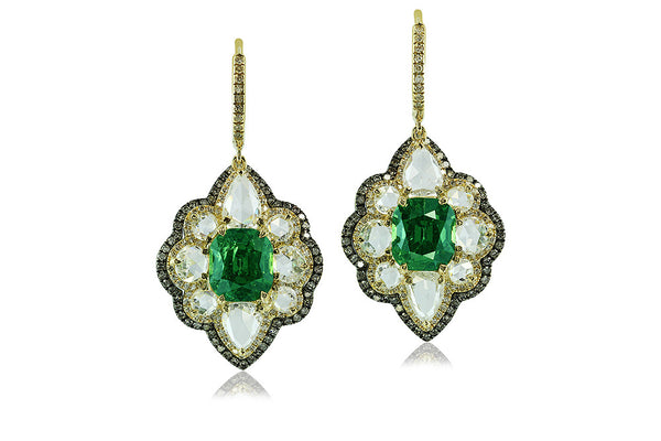 PAIR OF DEMANTOID GARNET AND DIAMOND PENDENT EARRINGS, IVY