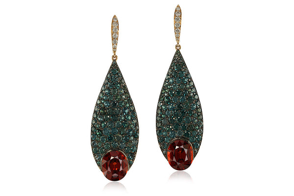 SPESSARTITE GARNET, COLOUR-CHANGING GARNET AND DIAMOND PENDENT EARRINGS, IVY