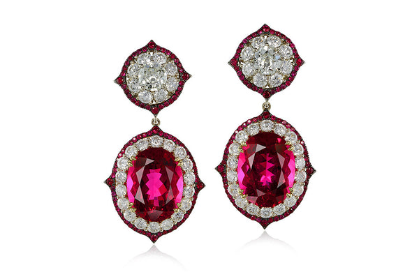PAIR OF RUBELLITE, RUBY AND DIAMOND PENDENT EARCLIPS, IVY