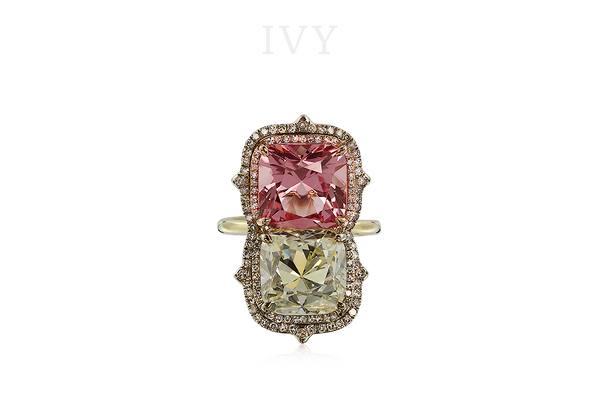 PINK SPINEL AND DIAMOND RING, IVY