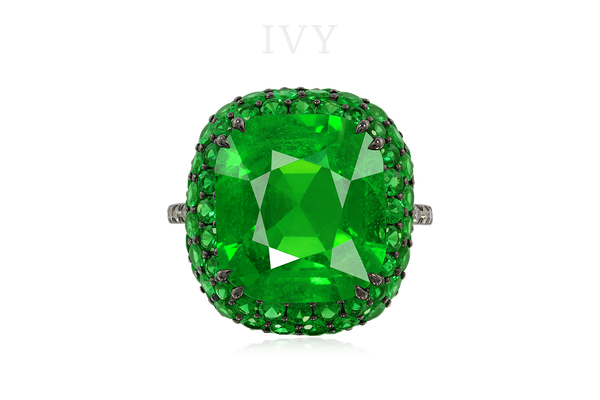 ANOTHER PROPERTY TSAVORITE GARNET AND DIAMOND RING, IVY