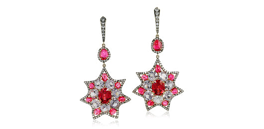 IVY New York earring with red spinel and diamonds