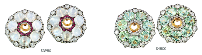Mini IVY ear studs with moonstone, ruby, tourmaline and diamonds